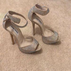 Steve Madden Glitter Gold Ankle Strap Heels Sz 5.5